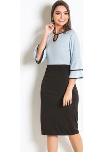 Vestido Bicolor Com Babados Moda Evangélica