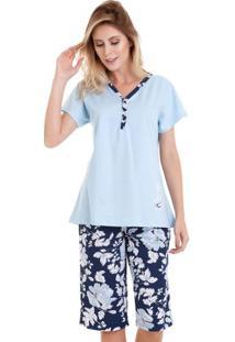 Pijama Capri Floral Azul Feminino Em Algodão Luna Cuore