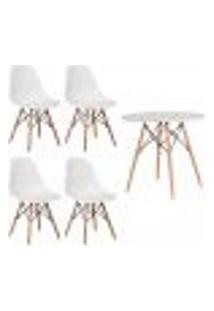 Conjunto 4 Cadeiras Eiffel Eames Branca + 1 Mesa Eames 80Cm Branca Base Madeira Sala Cozinha