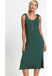 Vestido De Alças Amarradas Verde Musgo