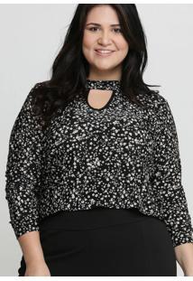 Blusa Feminina Choker Estampa Floral Plus Size