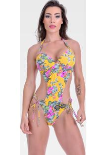 Maiô Summer Soul Engana Mamãe Amarração Floral Amarelo