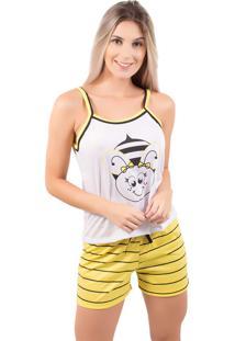Pijama Bella Fiore Modas Estampa De Bicho Amarelo