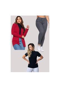 Conjunto Vicbela Blusa Gola Alta Canelada + Cardigan Kimono Manga Longa + Calça Ribana Cintura Alta