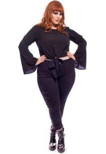 Calça Plus Size Jeans Skinny Destroyed Feminina - Feminino-Preto