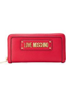 Love Moschino Carteira Com Logo E Zíper - Vermelho