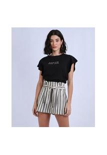 "Blusa Feminina Black Is My Happy Color"" Com Babado Na Manga Decote Redondo Preta"""