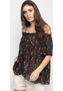 Blusa Lily Fashion Plissada Floral Open Shoulder Feminina - Feminino-Preto