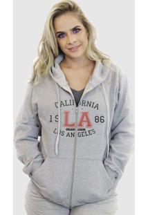 Blusa Moletom Aberta Suffix Cinza Claro Estampa Los Angeles California College Com Ziper - Tricae