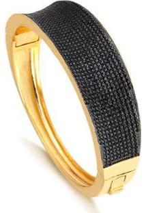 Bracelete Largo Cravejado Com Zircônias Pretas Folheado Francisca Joias - Feminino-Dourado