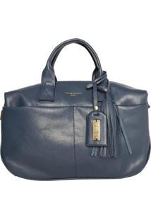Bolsa Handbag Couro House Of Caju Pingente Franjas Azul