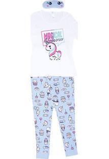 Pijama ''Magical'' - Branca & Azul Claro - Malweemalwee