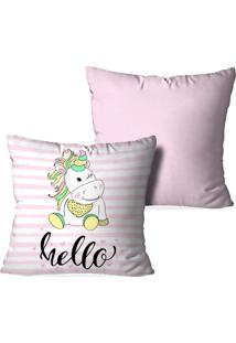 Kit 2 Capas Para Almofadas Decorativas Love Decor Hello Unicorn Multicolorido Rosa