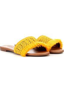 Rasteira Azaleia Franjas - Feminino-Amarelo