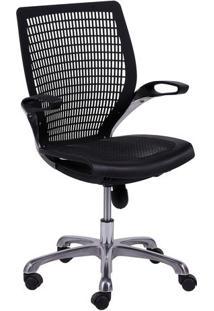 Cadeira De Escritã³Rio Age- Preta & Prateada- 100X60Xor Design