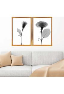 Quadro Com Moldura Chanfrada Sombra Flores Dourado - Médio