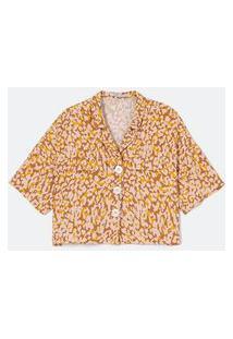 Camisa Manga Curta Com Lapela Estampa Animal Print | Cortelle | Bege | Gg