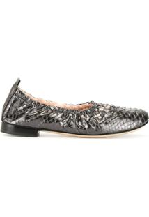 Rodo Sapato Com Efeito De Pele De Píton - Cinza