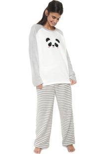 Pijama Cor Com Amor Estampado Branco/Cinza
