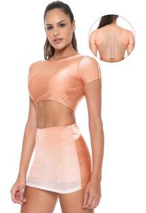 Camiseta Cropped Alto Giro Trilobal Dance Coral
