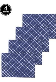 Kit Jogo Americano 4 Pçs Lyor Losango Azul E Branco 43X30Cm