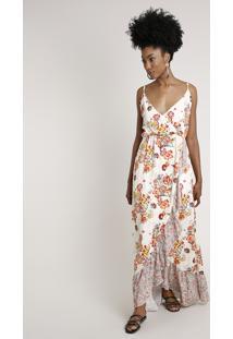 Vestido Feminino Bbb Longo Transpassado Estampado Floral Com Babado Alça Fina Off White