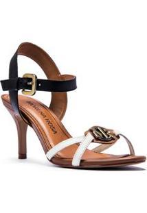 Sandalia Salto Medio Metal Personalizado Branco