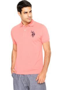 Camisa Polo U.S. Polo Logo Coral