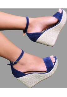 Sandália Delazari Anabela Nobuck Azul Marinho