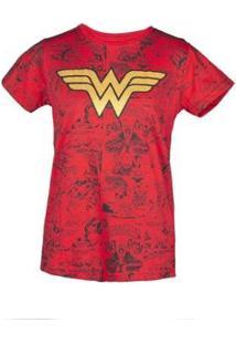 Camiseta Estampada Feminina Mulher Maravilha - Feminino-Vermelho