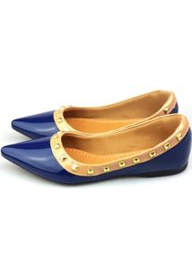 Sapatilha Love Shoes Bico Fino Valentino Spike Verniz Azul Marinho
