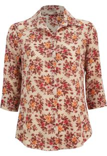 Camisa Intens Manga 3/4 Crepe Bubble Floral Bege