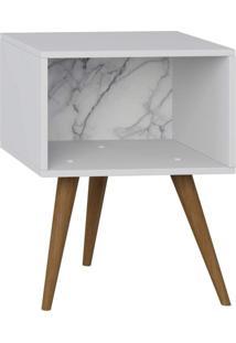 Mesa De Cabeceira Lyam Decor Retrô Branco Carrara