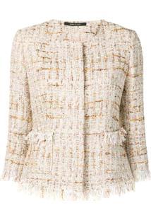 Tagliatore Jaqueta De Tweed Cropped - Branco