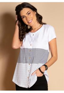 Blusa Com Botões Frontais Listras E Branco