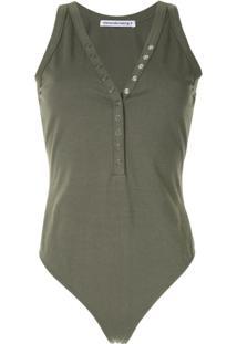 T By Alexander Wang Sleeveless Front Button Bodysuit - Verde
