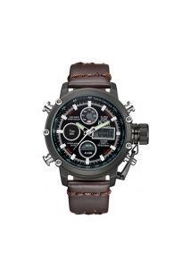 Relógio Masculino Oulm Hp3811 Analógico E Digital - Marrom E Preto