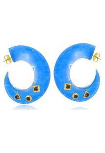 Brinco Argola Le Diamond De Acrílico Azul
