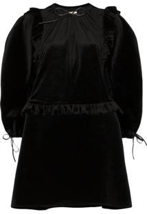 Shushu/Tong Pouf-Sleeve Velvet Mini Dress - Preto