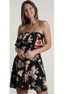 Vestido Feminino Curto Ciganinha Estampado Floral Manga Curta Preto