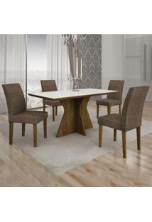 Conjunto De Mesa De Jantar Creta I Com 4 Cadeiras Olímpia Linho Branco E Marrom