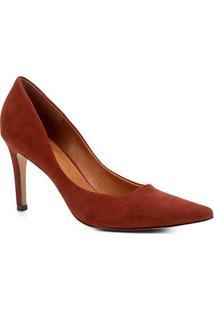 Scarpin Couro Shoestock Salto Alto Nobuck - Feminino-Marrom