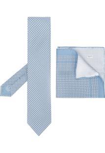 Brioni Conjunto De Gravata E Lenço De Bolso Com Poás - Azul