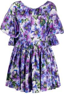 Dolce & Gabbana Vestido Com Estampa Floral - Roxo