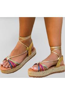 Sandália Delazari Flatform Metalizada Multicolor