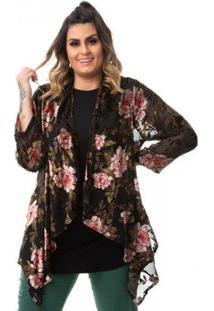 Kimono Floral Em Tule E Renda Em Veludo Plus Size Feminino - Feminino-Preto