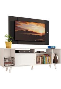 Rack Madesa Cancun E Painel Para Tv Até 58 Polegadas Com Pés - Branco/Preto 0977 Branco