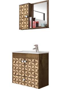 Conjunto P/ Banheiro Catar Madeira Rústica Móveis Bechara
