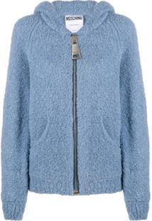 Moschino Jaqueta De Lã Com Capuz - Azul