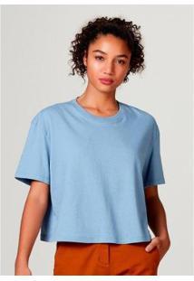 Blusa Feminina Modelagem Box Em Algodão - Feminino-Azul